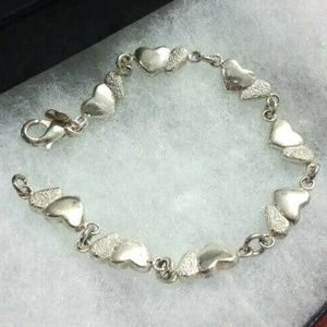 ⤵️⤵️925 Sterling Silver Grain Double Love Bracelet